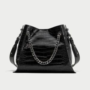 Zara Woman Embossed Leather Bag